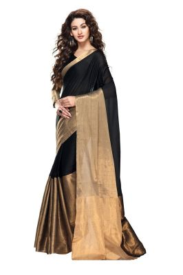 Buy Mahadev Enterprises Black Color Cotton Silk Saree With Unstitched Blouse Pics Pf20 online