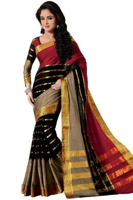 Buy Mahadev Enterprises Red & Black Color Cotton Silk Saree With Unstitched Blouse Pics Pf27 online