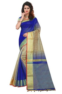 Buy Mahadev Enterpries  Blue Soft Cotton Silk saree With Running Blouse online