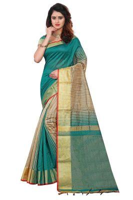41c759e8786001 Buy Mahadev Enterpries Green Soft Cotton Silk saree With Running Blouse  online