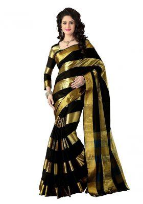 Buy Mahadev Enterprises Black & Gold Color Cotton Saree With Unstitched Blouse Pics Pf42 online