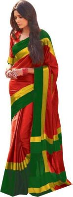 Buy Mahadev Enterprises Red Color Cotton Saree With Unstitched Blouse Pics Pf44 online