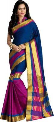 Buy Mahadev Enterprises Blue Color Cotton Saree With Unstitched Blouse Pics Pf50 online