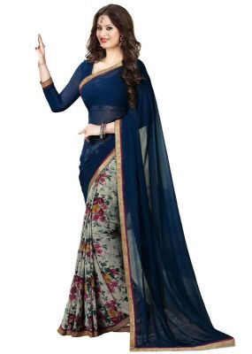 Buy Mahadev Enterprises Blue Color Georgatte Haff-haff Saree With Unstitched Blouse Pics Pf58 online