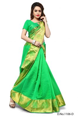 Buy Mahadev Enterprises Sea_green Color Banarasi Silk Weaving Saree With Blouse Rjm1106d online