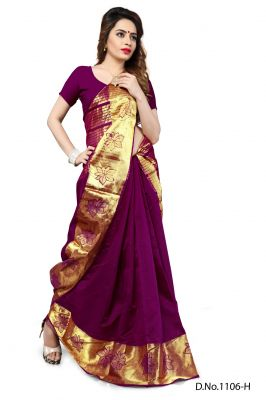 Buy Mahadev Enterprises Wine Color Banarasi Silk Weaving Saree With Blouse Rjm1106h online