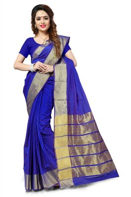 Buy Mahadev Enterprise Blue Banarasi Silk Weaving Saree With Running Blouse Pics online