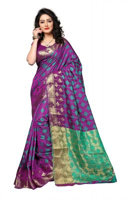 Buy Mahadev Enterprise Purple Cotton Silk Weaving Saree With Running Blouse Pics online