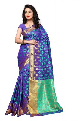 Buy Mahadev Enterprise Blue Cotton Silk Weaving Saree With Running Blouse Pics online