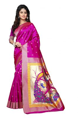 Buy Mahadev Enterprises Dark_pink Cotton Jacquard Saree With Blouse Rjm1135c online