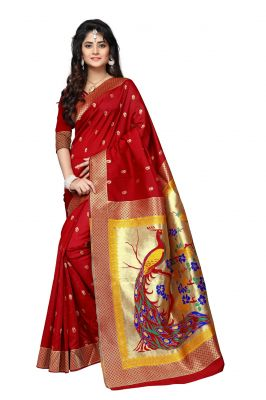 Buy Mahadev Enterprises Red Cotton Jacquard Saree With Blouse Rjm1135d online