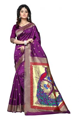 Buy Mahadev Enterprises Purple Cotton Jacquard Saree With Blouse Rjm1135f online
