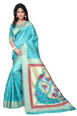 Buy Mahadev Enterprises Sky_blue Cotton Jacquard Saree With Blouse Rjm1135g online