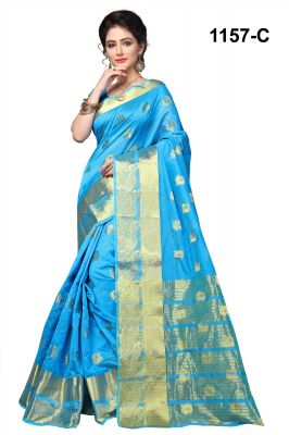 Buy Mahadev Enterprises Rama Cotton Silk Saree With Blouse Pics online