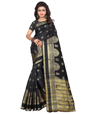 Buy Mahadev Enterprise Black Cotton Silk Weaving Saree With Running Blouse Pics online