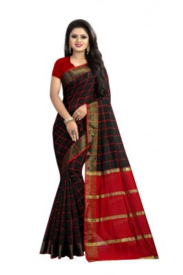 Buy Mahadev Enterprise  Black Cotton Chex  Saree With Running Blouse Pic online