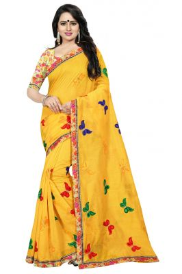 Buy Mahadev Enterprise Yellow Chanderi Cotton Saree With Bhagalpuri Print Blouse online