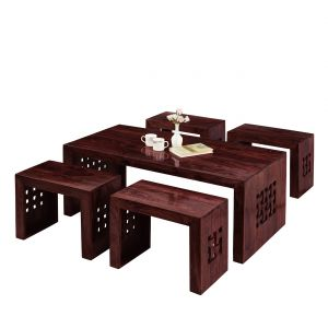 Buy Inhouz Sheesham Wood Zig Zag Coffee Table online