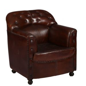 Buy Inhouz Sheesham Wood Leather Stephen Sofa Chair online