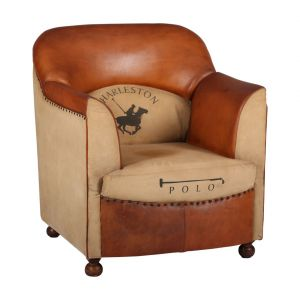 Buy Inhouz Sheesham Wood Leather Almedo Sofa Chair online