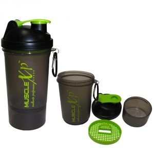 MuscleXP Smart PRO Gym Shaker (Transparent Black) With Strainer 500ml - Design 1