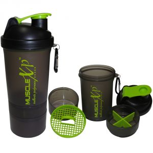 MuscleXP Smart Advanced Gym Shaker (Transparent Black) With Strainer 500ml - Design 2