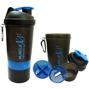 MuscleXP Smart Advanced Gym Shaker (Black & Blue) With Strainer 500ml - Design 8