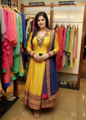 Buy Stylish Yellow Anarkali With Tribal Design By Purple Oyster online