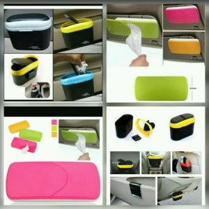 Buy 1 X Car Tissue Paper Holder + 1 X Multicolour Car Trash Dust Dustbin online
