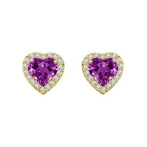 Buy Silver Dew 925 Pure Silver Amethyst Halo Heart Screw Back Ladies Earring Sde061 online