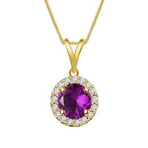 Buy Silver Dew Purple Amethyst Pendant 925 Pure Silver In Rhodium Plated Sdp013 online