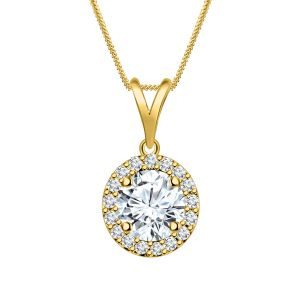 Buy White Cz Halo Round Pendant Silver Dew 925 Pure Silver Pendant For Women Sdp013 online