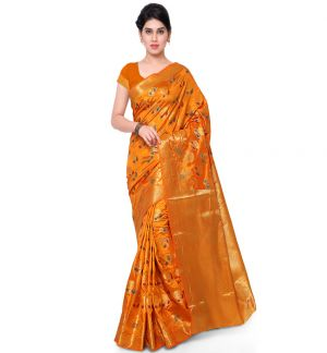 Buy Varkala Silk Sarees Woven Art Silk Embossed Motifs Paisley Pallu Saree Nd1017 online