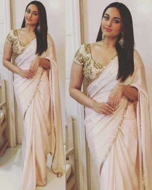 Buy Palash Fashion Bollywood Replica Royal Looking Cream Color Embroidered Fancy Designer Saree online