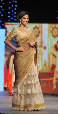 Buy Palash Fashion Bollywood Replica Royal Looking Beige Color Embroidered Fancy Designer Saree online