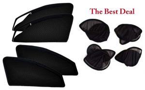 Buy The Best Deal Zipper & Magnetic Foldable Car Sun Shades/ Curtain For Tata Safari Dicor -set Of 4 online
