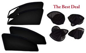 Buy The Best Deal Zipper & Magnetic Foldable Car Sun Shades/ Curtain For Honda Amaze -set Of 4 online
