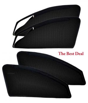 Buy The Best Deal In Zipper & Magnetic Car Sun Shades/ Curtain For Mahindra Tuv 300 -set Of 4 online