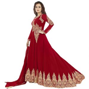 Buy Bollywood Replica Party Wear Dia Mirza Red Georgette Long Anarkali Suit online