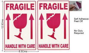 "#100 Pcs Medium  Self Adhesive STICKER ""FRAGILE"" ""HANDLE WITH CARE""  Transit Safety-ST1019"
