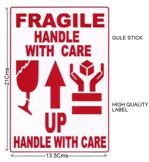 "#100 Pcs BIG GLUE STICK  Label ""FRAGILE- HANDLE WITH CARE"" Transit Safety- ST1018"