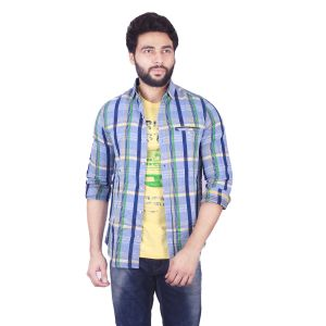 Buy Mercury Men's Blue Super Fine Chex Shirt With T_shirts J_304_a online