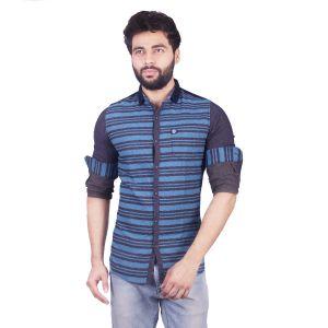 Buy Mercury Men's Blue Brushing Weft Stripes Shirt J_401_a online