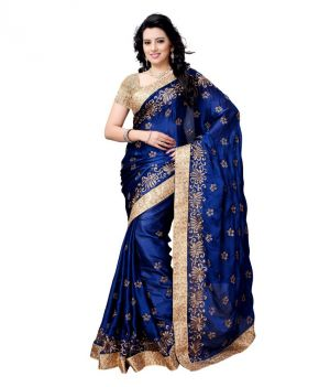 Buy Pavitra Creation Blue Satin Chiffon Embroidery Work Partywear Saree With Blouse Blue Satin online