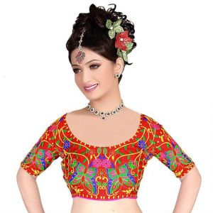 Buy Pavitra Creation Red Designer Kuch Embroidery Work Unstitched Blouse Butterfly1 online
