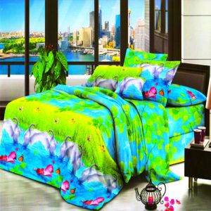 Buy Vertex Industries 3d Polyester Double Bedsheet With 2 Pillow Cover Vibs.1013 online