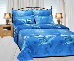 Buy Shree jee 3D polyester double bedsheet with two pillow covers online