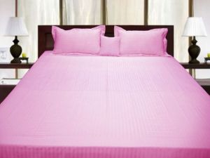 Buy Pure Egyptian Cotton Queen Bed Bedsheet 2 Pillowcase - Pink Stripe online