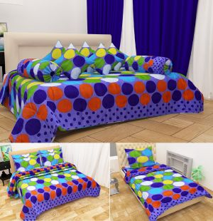 Buy Shree Jee Combo Of 3d Polyester Single Bedsheet, Double Bedsheet & Diwan Set (code - Cmb1002 ) online