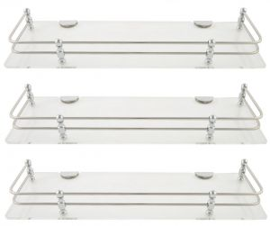 Buy Horseway White (clear) Acrylic And Stainless Steel Railing Wall Shelf - 12x5 Inch - Set Of 3 online